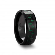 ATILUS Beveled Black Ceramic Wedding Band with Black & Green Carbon Fiber - 8mm