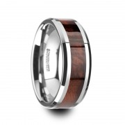 AUBURN Red Wood Inlaid Tungsten Carbide Ring with Bevels - 8mm