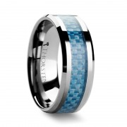 AUGUSTUS Blue Carbon Fiber Inlay Tungsten Carbide Band - 4mm - 10mm