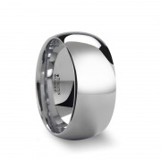 ADDINGTON Rounded White Tungsten Carbide Ring with Polished Finish - 10mm