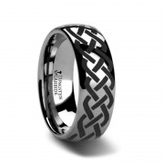 ADDISON Domed Tungsten Ring with Celtic Knot Design - 4mm - 12mm