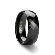 AEON 288 Black Diamond Faceted Tungsten Carbide Ring - 4mm - 8mm