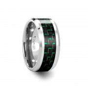 AETIUS Tungsten Carbide Wedding Band with Black & Green Carbon Fiber Inlay - 10mm
