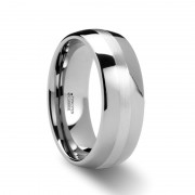 ALTHALOS Palladium Inlaid Domed Tungsten Ring - 6mm & 8mm