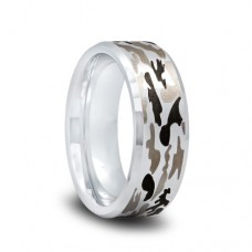 Tungsten Camo Wedding Band with Gray and Brown Camouflage Pattern and Polished Beveled Edges