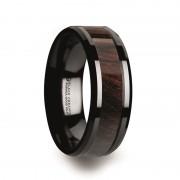BENNY Black Ceramic Polished Beveled Edges Men's Wedding Band with Bubinga Wood Inlay - 8mm