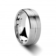 BOSS Rounded Brushed Center Groove Tungsten Carbide Ring - 6mm & 8mm