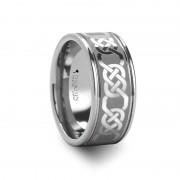 BOSTON Celtic Laser Engraved Tungsten Wedding Band - 10 mm