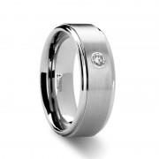 BRIGHTON Diamond Set Tungsten Ring - 8 mm