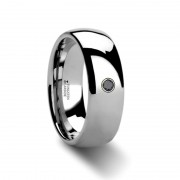 BRISBANE Rounded Black Diamond Tungsten Carbide Ring - 6mm & 8mm