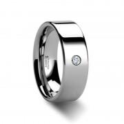 BRISTOL Flat Polished Tungsten Diamond Ring 6mm & 8mm
