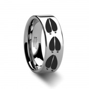 Animal Deer Track Mule Print Ring Engraved Flat Tungsten Ring - 4mm - 12mm