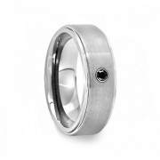 144D - Raised Tungsten Carbide Ring with Black CZ