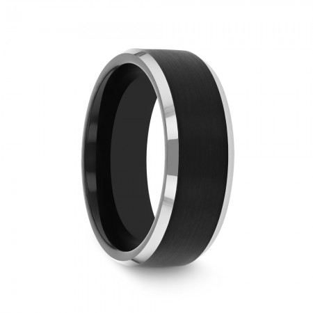 ATNOS Black Brushed Center Tungsten Carbide Ring with Polished Beveled Edges - 4mm - 10mm