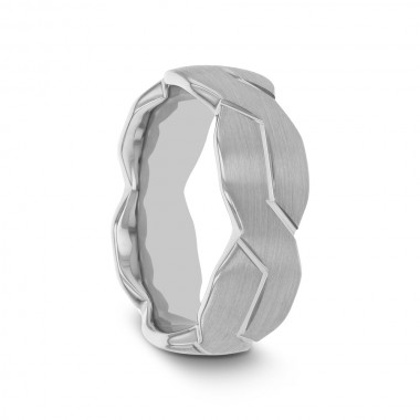 FIORO White Tungsten Ring with Brushed Carved Infinity Symbol Design - 6mm - 10mm