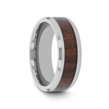 HARUA Beveled Tungsten Carbide Ring with Black Walnut Wood Inlay - 4mm - 12mm