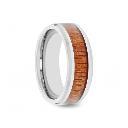 KINGSLEY Koa Wood Inlaid Tungsten Carbide Ring with Bevels - 4mm - 12mm
