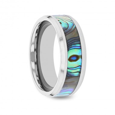 AIKAU Tungsten Wedding Band with Mother of Pearl Inlay - 4mm - 10mm
