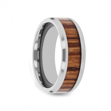 EQUINE Tungsten Carbide Ring with Beveled Edges and Real Zebra Wood Inlay - 4mm - 10mm