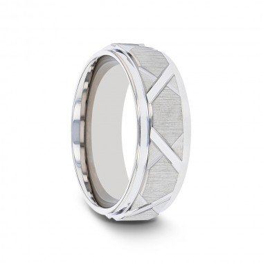 WILHELM Tungsten Ring with Triangle Angle Grooves and Raised Center - 8mm