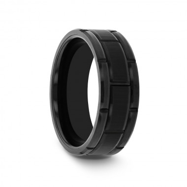 HOWELL Beveled Black Tungsten Carbide Wedding Band with Brush Finished Center and Alternating Grooves - 8 mm & 10 mm