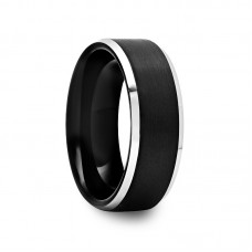 Brushed Black Tungsten Ring with Polished Bevels