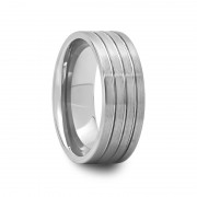 Mens Pipe Cut Grooved Tungsten Ring with Brushed Finish