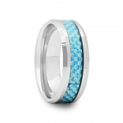302F - Tungsten Wedding Band with Sky Blue Carbon Fiber