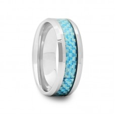 Tungsten Wedding Band with Sky Blue Carbon Fiber