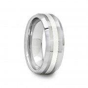 502I - Beveled Tungsten Carbide Ring with Silver Inlay 8 mm