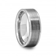 Tungsten Ring with Polished Edges and Brushed Center