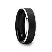 Brushed Black Tungsten Ring with Silver Bevels 6 mm