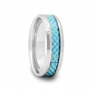 Tungsten Wedding Band with Sky Blue Carbon Fiber 6 mm