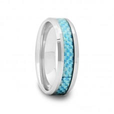 634F - Tungsten Wedding Band with Sky Blue Carbon Fiber 6 mm