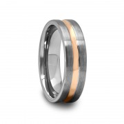 Brushed Tungsten Ring with Rose Gold Plated Groove 6 mm