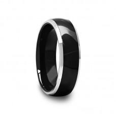 Black Ceramic Inlay Tungsten Carbide Ring 6 mm