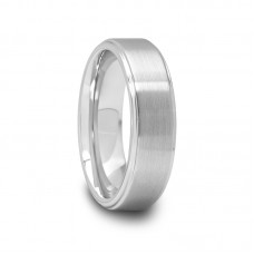 621T- Tungsten Ring with Raised Brush Finish Center 6mm