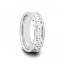 Tungsten Carbide Ring with White Carbon Fiber 6 mm