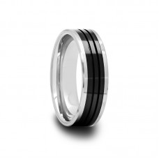 Tungsten Carbide Ring with Black Ceramic Inlay 6 mm