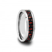 Tungsten Carbide Ring with Black & Red Carbon Fiber 6 mm