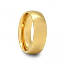 155T - Mens Domed Tungsten Carbide Ring With Gold Plated Finish