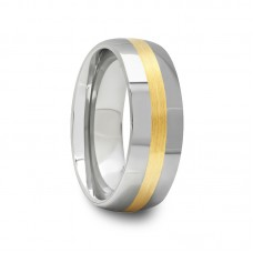 Round Tungsten Carbide Ring with Gold Inlay