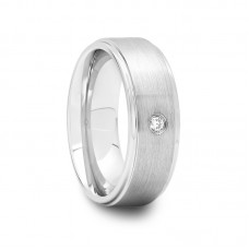 143D - Mens Raised Center Tungsten Carbide Ring with White CZ