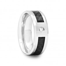 307D - Beveled Tungsten Carbide Ring with Black Carbon Fiber Inlay and White CZ