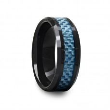 Black Ceramic Beveled Edged Ring with Blue Carbon Fiber Inlay