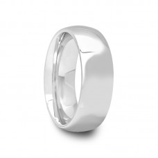 Mens Classic Polished Round Tungsten Carbide Ring