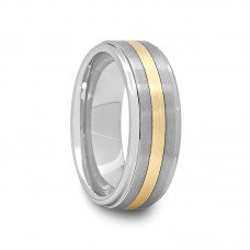 Raised Center Tungsten Carbide Ring with Gold Inlay