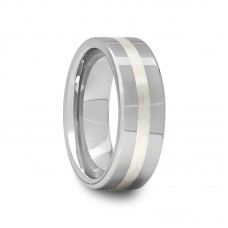 Pipe Cut Tungsten Carbide Ring with Silver Inlay