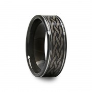 Mens Celtic Engraved Design Black Tungsten Carbide Ring