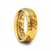 Mens Domed Tungsten Carbide Ring With Gold Plated Finish and Engraved Writing